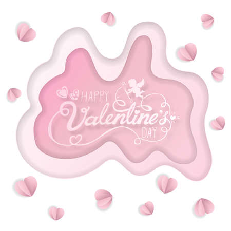 Love Invitation card Valentine's day abstract background with text Happy Valentine's day, paper cut pink background. Vector illustration. Ilustracja