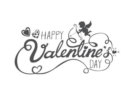Happy Valentines Day text with handwritten calligraphy isolated on white background. Vector Illustration.