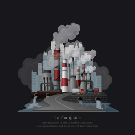 Global warming pollution concept, Urban landscape smoked polluted atmosphere from emissions of factories, view of pipes with smoke and residential city. vector and illustration. Zdjęcie Seryjne - 140895692