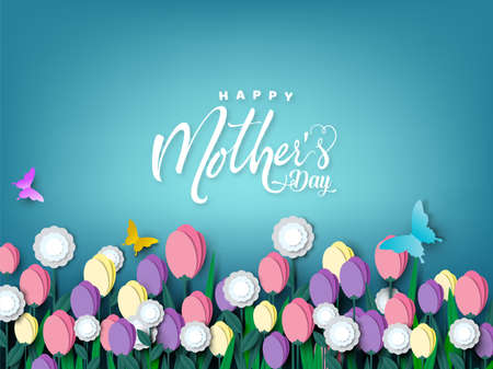 Happy Mother's day card, flower paper cut with butterfly on blue background, vector illustration. Ilustracja