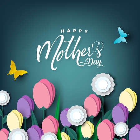 Happy Mother's day card, flower paper cut with butterfly on green background, vector illustration. Zdjęcie Seryjne - 141155450