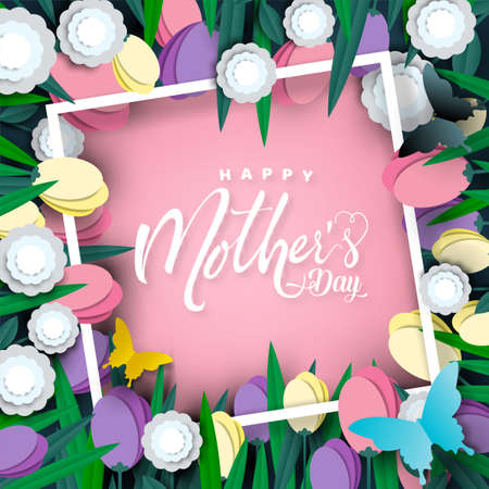 Happy Mother's day card, flower paper cut with butterfly on pink background, vector illustration.