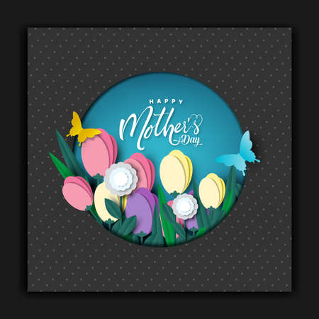 Happy Mother's day card, flower paper cut with butterfly on blue background, vector illustration. Иллюстрация