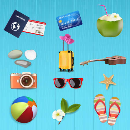 Summer Accessories set. on blue wooden, vector and illustration.
