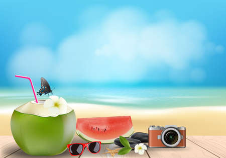 Coconut cocktail on wooden floor with summer beach background, vector illustration.