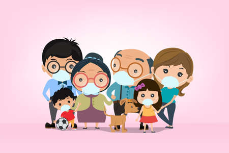 Big families are wear a mask to cover the nose and mouth to protect against viruses and covid-19, vector and illustration. Иллюстрация