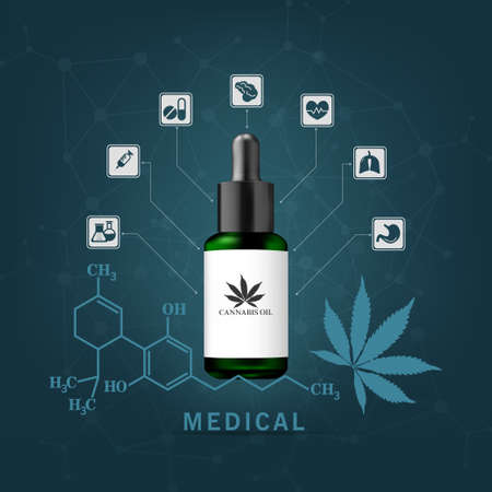 Hemp oil is extracted for the cure of many diseases. Medical use on blue background, vector and illustration.
