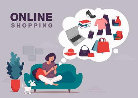 Online shopping banner, mobile app templates, concept vector illustration flat design 向量圖像