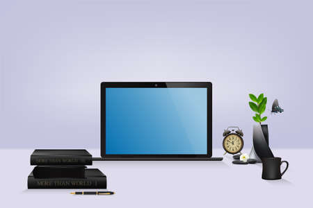 workplace in modern beautiful home office, laptop with blue empty blank screen, interior design. vector and illustration. Zdjęcie Seryjne - 148647633