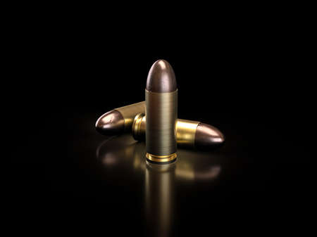 Close-up, Bullets on black background with reflection shadow, 3D illustration.
