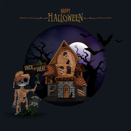 Halloween background with haunted house, bats, graveyard and Mummy vector illustration. Copy space for text. Zdjęcie Seryjne - 157272187