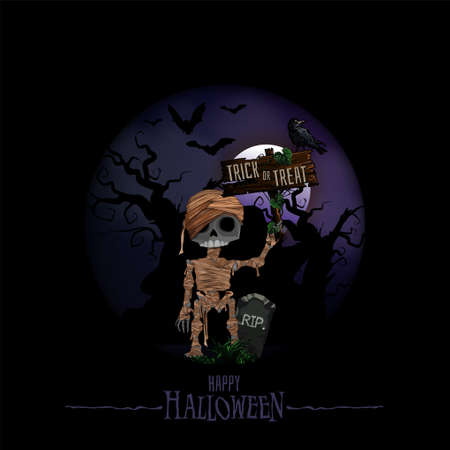 Halloween background with haunted house, bats, graveyard and Mummy vector illustration. Copy space for text. 向量圖像