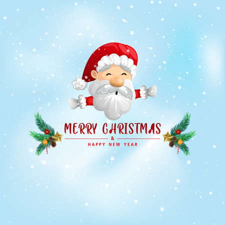 Funny Christmas Greeting Card, With Santa Claus, vector illustration. 向量圖像