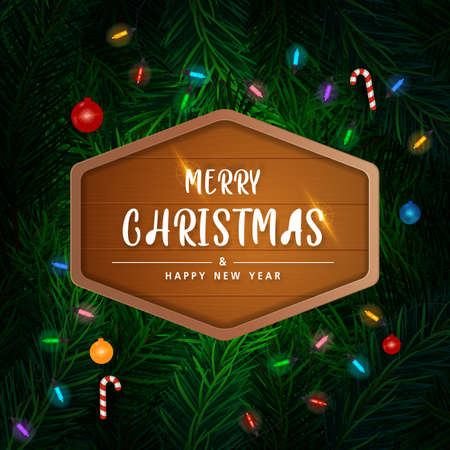 Background with Realistic Looking Christmas Tree Branches on red background. Brochure design template, Card, Banner, vector illustration. Zdjęcie Seryjne - 158087165