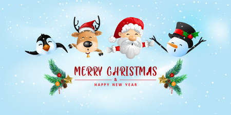 Funny Christmas Greeting Card, With Santa Claus, Deer, Snowman and penguin, vector illustration. 向量圖像