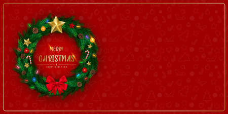 Background with Realistic Christmas Wreath Made of Pine tree branches Decorated with Star, Pine cones, Flashing light. Brochure design template, Card, Banner. illustration. 版權商用圖片