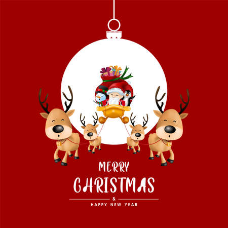 Merry Christmas and Happy New Year in Christmas ball on red background. Invitation card vector and illustration. 向量圖像