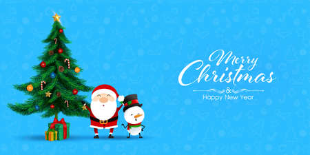 Greeting card for Merry Christmas on blue background. Brochure design template, Card, Banner, illustration.