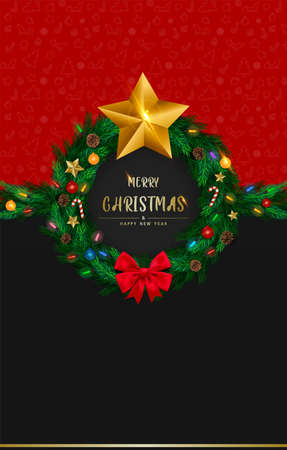 Invitation card design for merry christmas and happy new year, copy space, vector and illustration.