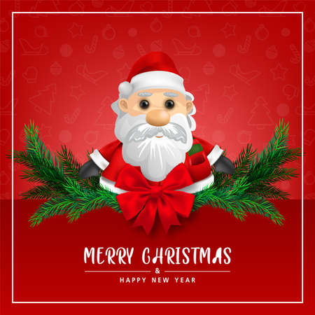 Greeting card, Cute Santa claus on Red background for merry christmas and happy new year card. illustration. Zdjęcie Seryjne - 159091487
