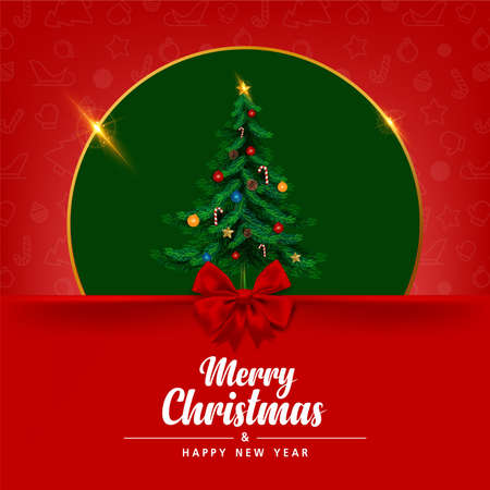 Greeting card, Merry christmas and happy new year invitation card. vector and illustration.