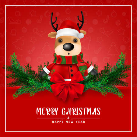 Greeting card, Cute Reindeer on Red background for merry christmas and happy new year card. vector illustration.