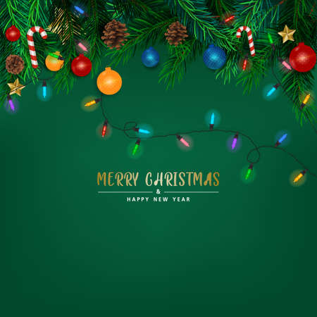 Background with Realistic Looking Christmas Tree Branches on red background. Brochure design template, Card, Banner, vector illustration.
