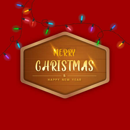 Merry Christmas and happy new year in Wooden frame on Red background. Brochure design template, Card, Banner, vector illustration. Zdjęcie Seryjne - 160363166