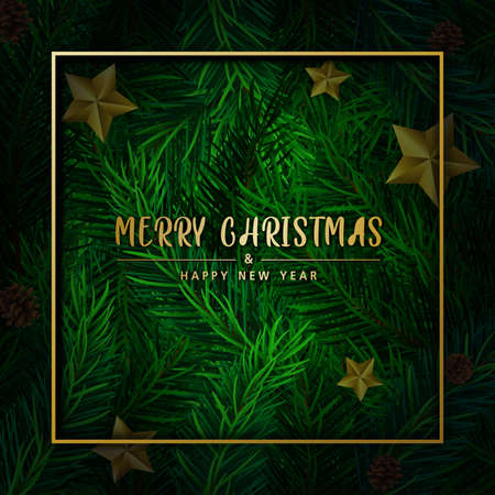Background with Realistic Looking Christmas Tree Branches on red background. Brochure design template, Card, Banner, vector illustration. Zdjęcie Seryjne - 160418394
