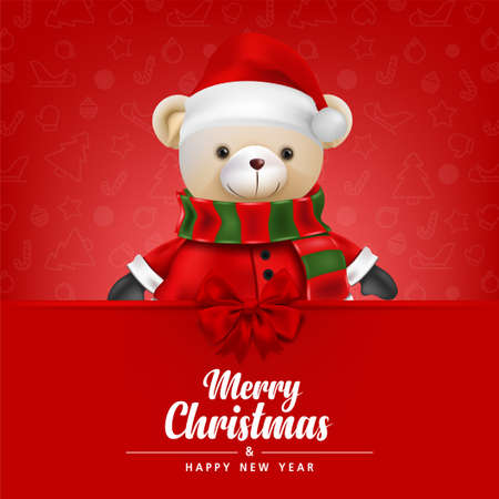 Cute teddy bear wear Santa claus on Red background for merry christmas and happy new year card. illustration. 版權商用圖片
