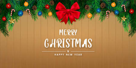 Merry Christmas and happy new year in Wooden wall background. Brochure design template, Card, Banner, vector illustration. 向量圖像