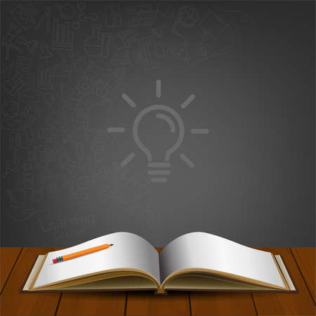 Open book with icon doodles on back background. Education vector illustration.