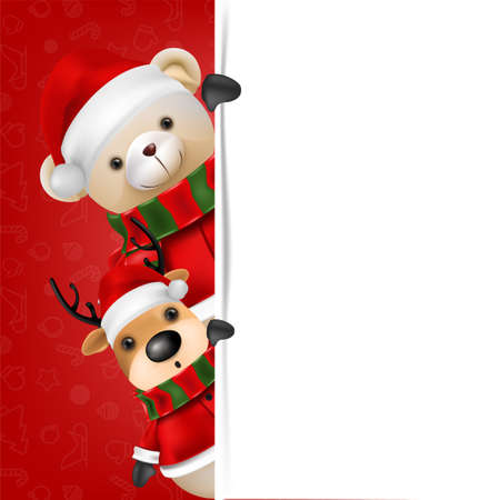Cute teddy bear and reindeer wear Santa claus on Red background for merry christmas and happy new year card. vector illustration.