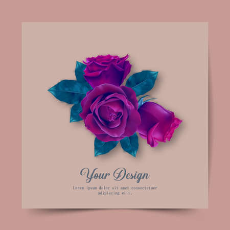 Happy Valentines Day. Greeting card with realistic of red rose, Typography design for print cards, banner, poster.