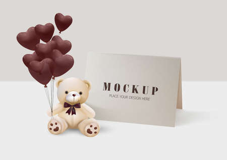Happy Valentines Day. Greeting card with realistic of Mock up design for print cards, banner, poster.