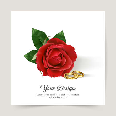 Happy Valentines Day. Greeting card with realistic of red rose, Typography design for print cards, banner, poster. Vector Eps.10 and illustration.