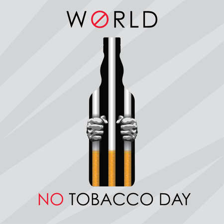 World No Tobacco Day, man in a cigarette cage