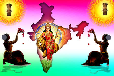 beautyful ladies praying the mother land of india