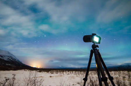 View to camera shooting nature in winter night LANG_EVOIMAGES