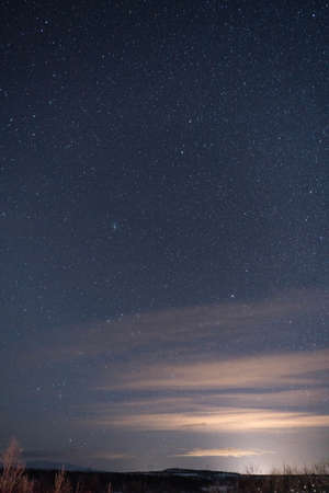 View to cloudless sky covered with stars in winter