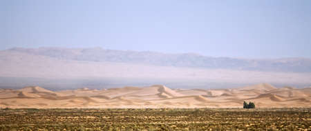 a mirage: Landscape photo of wild desert border and possibly the mirage Stock Photo