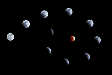 Whole phases of lunar eclipse on 10 Dec. 2011 photo