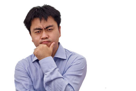 Isolation photo of an asian businessman thinking hard Stock Photo - 11949250