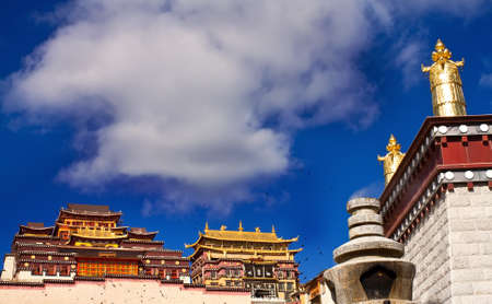 Landscape view of Sumtseling Monastery with typiccal Tibet Style in Yunnan Province China Stock Photo