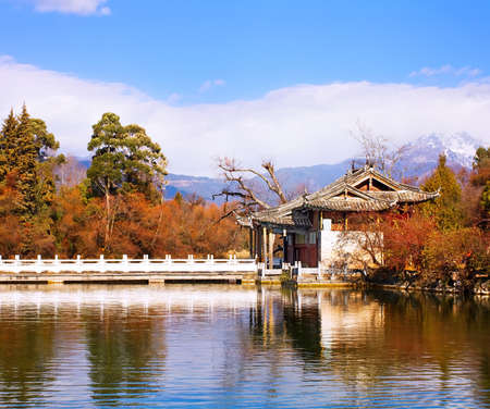 Landscape photo of Beautiful Pavilion In Black Dragon Pool Park, Lijiang Yunnan Province, China Stock Photo - 16433384