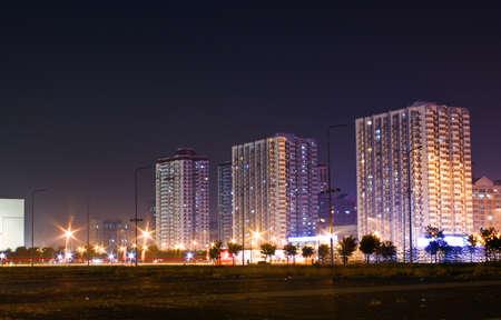 residental: Night view of modern residental buildings Stock Photo