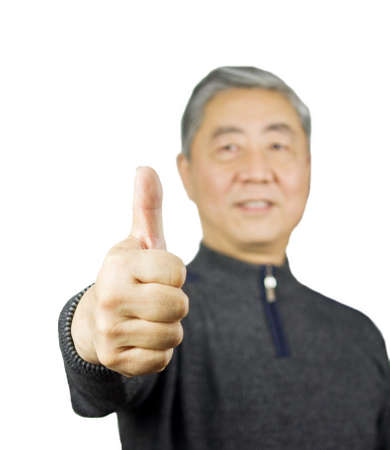 Closeup isolation photo of senior Chinese man showing ok and good with fingers Stock Photo - 17279871