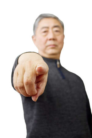 Closeup isolation photo of senior Chinese man showing ok and good with fingers photo