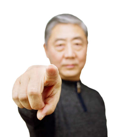 Closeup isolation photo of senior Chinese man showing ok and good with fingers
