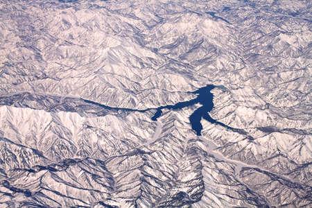 Tokyo yakınlarındaki Japonya'da kar dağların Peyzaj, havadan görünümü Stock Photo